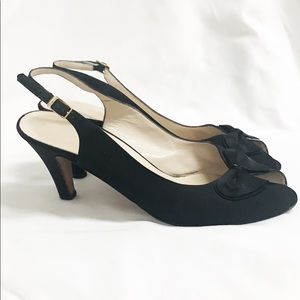 SALVATORE FERRAGAMO Black Peep Toe Sling Back Pump